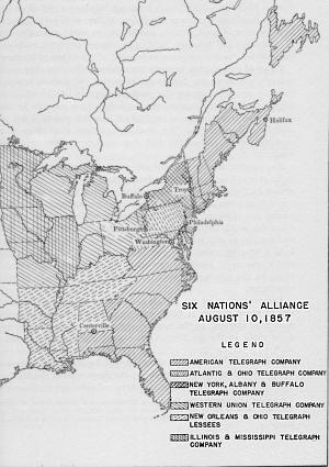 History Of The US Telegraph Industry - Historical map of bell telephone coverage in the us